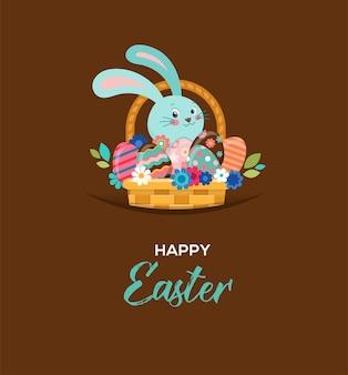 Carte de voeux joyeuses pâques, lapin dans le panier, avec des fleurs et des oeufs
