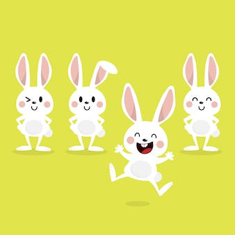 Carte de voeux joyeuses pâques avec mignon lapin blanc.