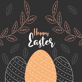 Carte De Voeux Joyeuses Pâques Avec Des Oeufs En Pointillés Et Feuillage Sur Fond Noir Vecteur Premium