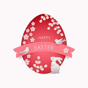 Carte de voeux joyeuses pâques. papier découpé, fleurs de style en couches, branches, oiseaux et lapin de pâques.