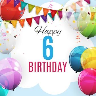 Carte de voeux de joyeux anniversaire, 6 ans. groupe de couleur ballons à l'hélium brillant