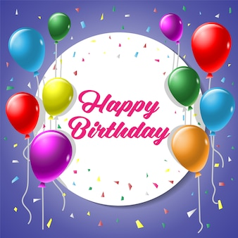 Carte de voeux de joyeux anniversaire avec ballon coloré