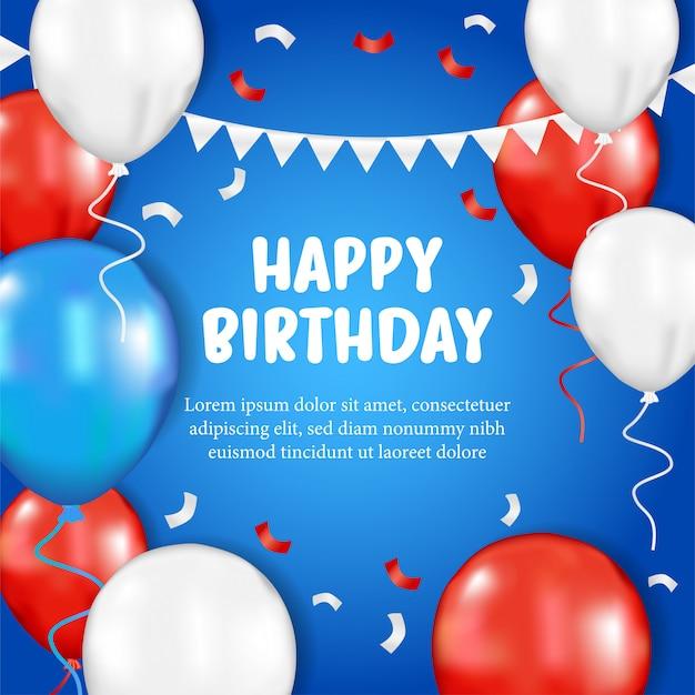 Carte de voeux de joyeux anniversaire avec ballon