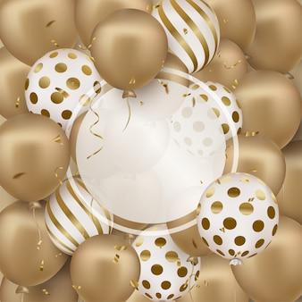 Carte de voeux de joyeux anniversaire avec des ballons 3d dorés, cadre rond.