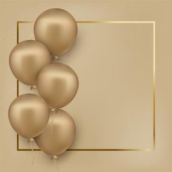 Carte de voeux de joyeux anniversaire avec des ballons dorés dorés