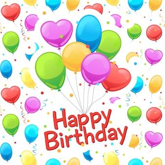 Carte de voeux joyeux anniversaire ballons