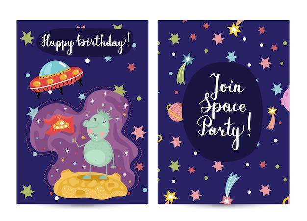 Carte de voeux joyeux anniversaire cartoon