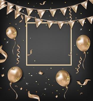 Carte de voeux de joyeux anniversaire. célébrations fond de vecteur.