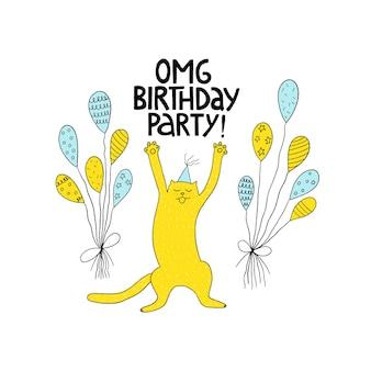 Carte de voeux de joyeux anniversaire avec chat mignon et ballon. fête d'anniversaire. illustration vectorielle