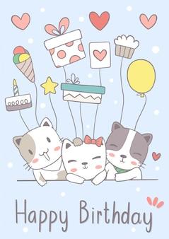 Carte de voeux joyeux anniversaire chat mignon dessiné à la main