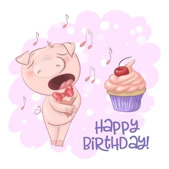 Carte de voeux joyeux anniversaire avec cochon chantant mignon avec un petit gâteau et des notes. style de bande dessinée