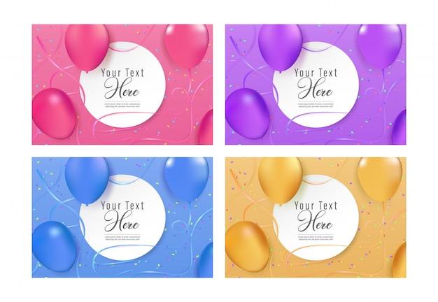 Carte de voeux de joyeux anniversaire et collection d'invitation à une fête,