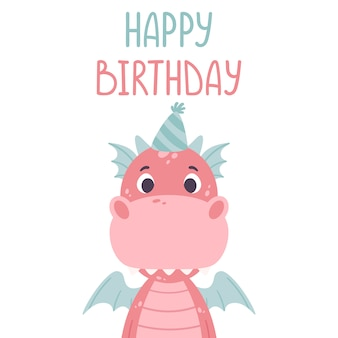 Carte de voeux de joyeux anniversaire avec dragon.