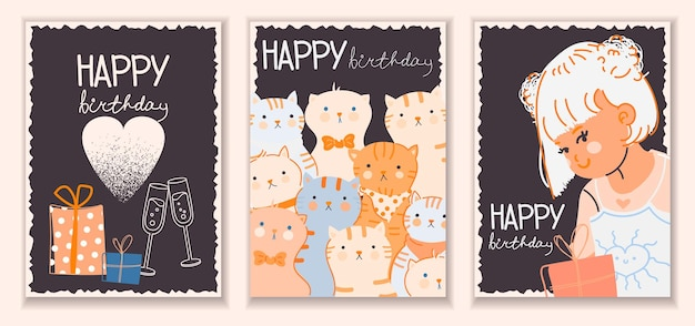 Carte de voeux de joyeux anniversaire avec une fille mignonne de chats drôles et des cadeaux