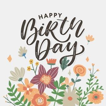 Carte de voeux joyeux anniversaire avec des fleurs