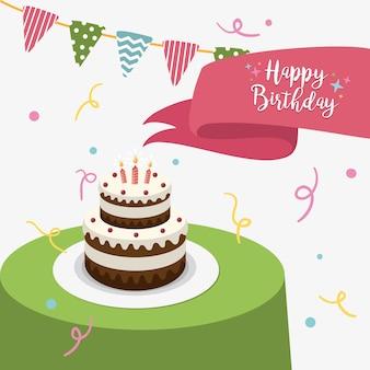 Carte de voeux de joyeux anniversaire avec un gâteau et des bougies