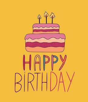 Carte de voeux de joyeux anniversaire avec gâteau illustré sur fond jaune.