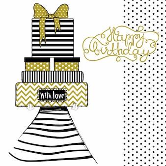 Carte de voeux joyeux anniversaire, illustration de la jolie fille fashion avec cadeaux et cadeaux