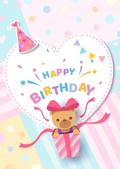 Carte de voeux joyeux anniversaire avec ours dans une boîte présente sur cadre couleur coeur pastel