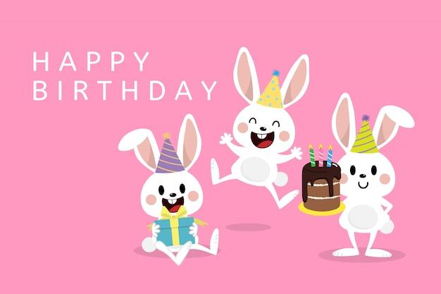 Carte de voeux joyeux anniversaire avec des petits lapins