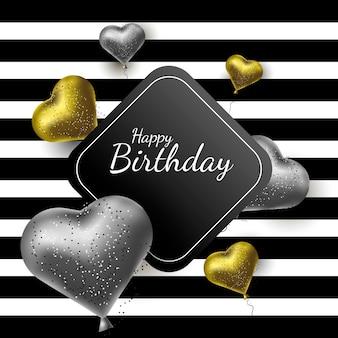 Carte de voeux joyeux anniversaire, style luxe