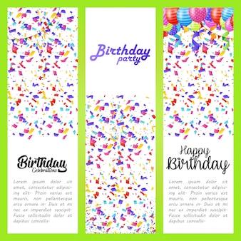Carte de voeux de joyeux anniversaire avec vecteur deisgn elegent