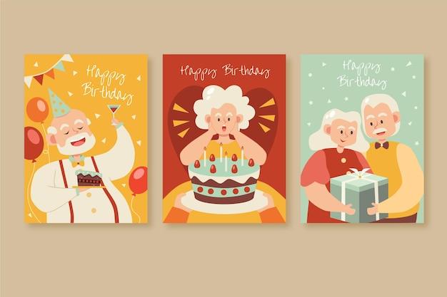 Carte de voeux joyeux anniversaire vieil homme et vieille femme