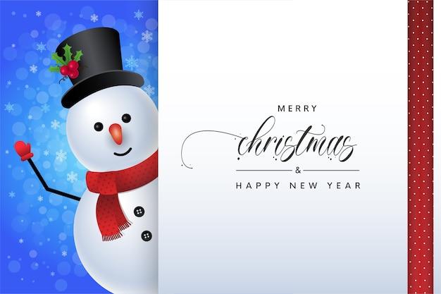 Carte de voeux joyeux bonhomme de neige joyeux noël