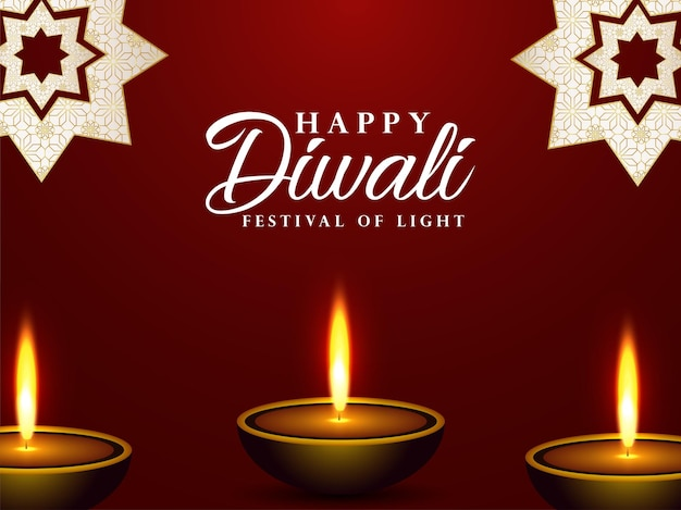 Carte de voeux joyeux diwali célébration avec illustration vectorielle de diwali diya