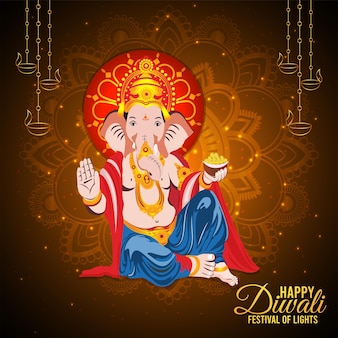 Carte de voeux joyeux diwali avec illustration vectorielle du seigneur ganesha et de la déesse lakshami