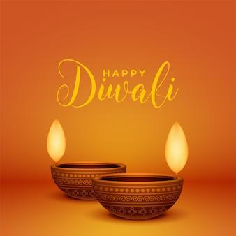 Carte de voeux joyeux diwali réaliste avec deux lampes diya