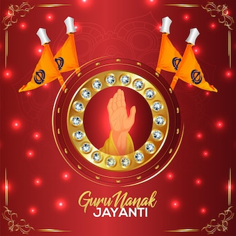 Carte De Voeux Joyeux Gourou Nanak Jayanti Célébration Vecteur Premium