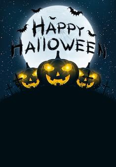 Carte de voeux joyeux halloween. calligraphie grunge avec des chauves-souris et des araignées. citrouilles dans le cimetière de nuit. pleine lune dans le ciel étoilé.