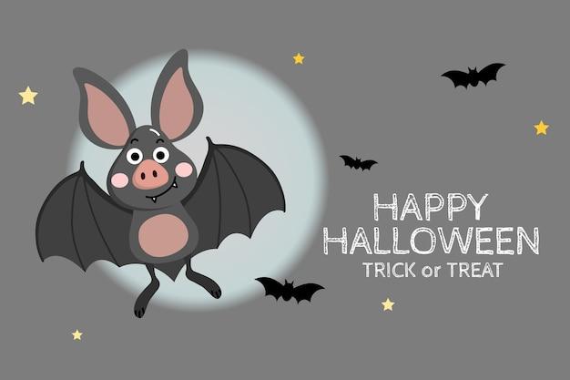 Carte de voeux joyeux halloween avec une chauve-souris vampire mignonne.
