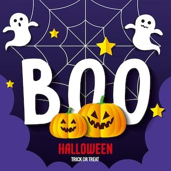 Carte de voeux joyeux halloween, avec des citrouilles, des fantômes, des étoiles et une toile d'araignée en papier découpé