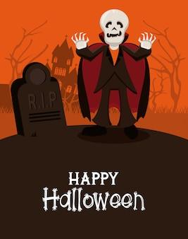 Carte de voeux joyeux halloween avec des dessins animés