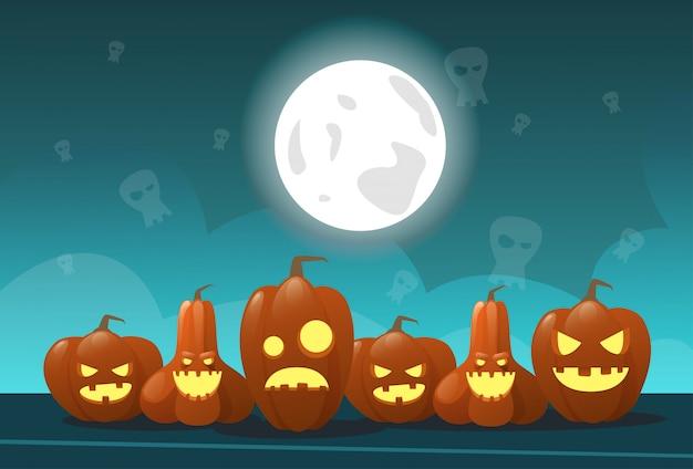 Carte de voeux joyeux halloween différentes citrouilles décoration traditionnelle