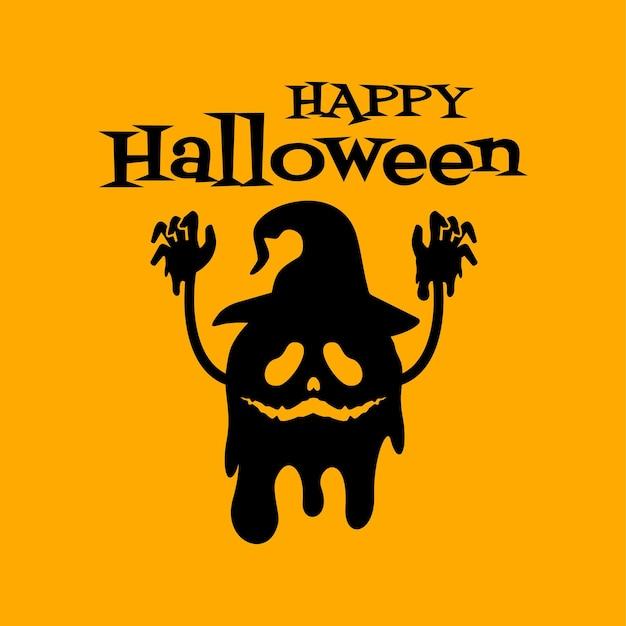 Carte de voeux joyeux halloween avec petit monstre portant desig de vecteur de chapeau de sorcière