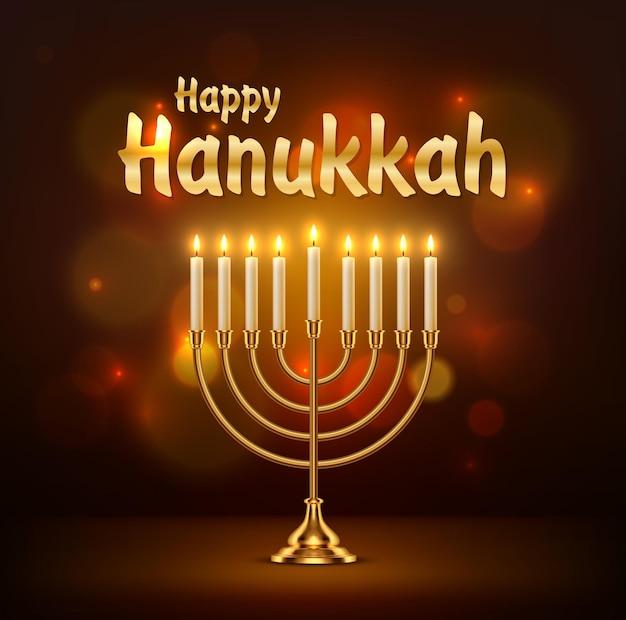 Carte de voeux joyeux hanukkah vector avec menorah