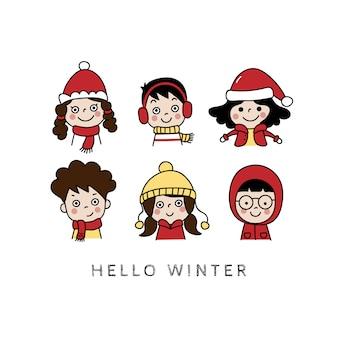 Carte de voeux de joyeux hiver avec enfants mignons.