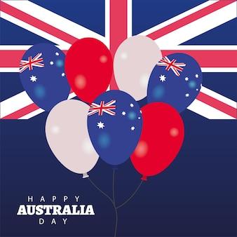 Carte de voeux joyeux jour australie avec drapeau et ballons hélium