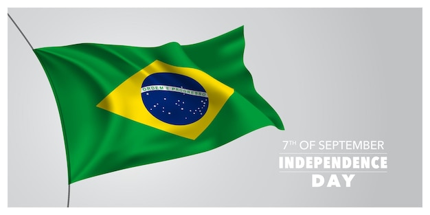 Carte de voeux de joyeux jour de l'indépendance du brésil, bannière, illustration vectorielle horizontale. élément de design des vacances brésiliennes du 7 septembre avec drapeau ondulant comme symbole de l'indépendance