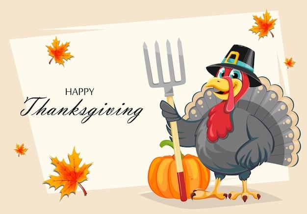 Carte de voeux joyeux jour de thanksgiving. oiseau de dinde de personnage de dessin animé drôle en chapeau de pèlerin