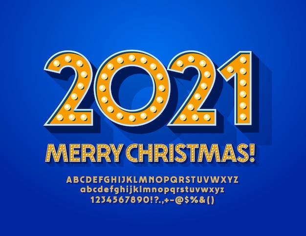 Carte de voeux joyeux noël 2021! police de lumière d'or. ensemble de lettres et de chiffres alphabet vintage