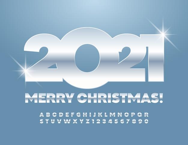Carte de voeux joyeux noël 2021! police moderne argentée. lettres et chiffres de l'alphabet métallique