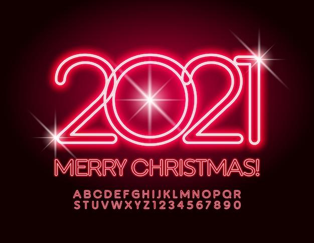 Carte de voeux joyeux noël 2021! police néon rouge. ensemble de lettres et de chiffres de l'alphabet lumineux