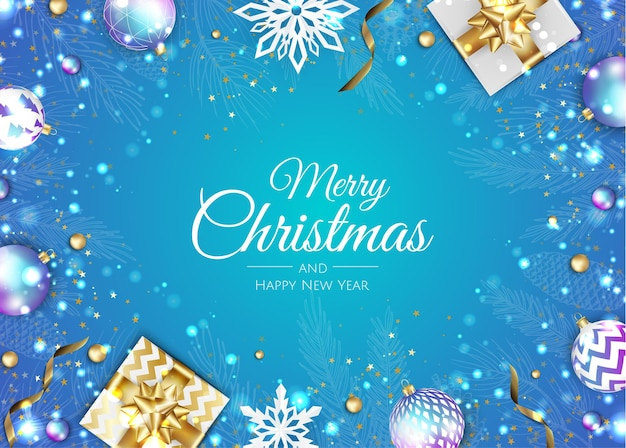 Carte de voeux joyeux noël avec arbre du nouvel an, boules de noël, flocons de neige. illustration de vacances de vecteur.