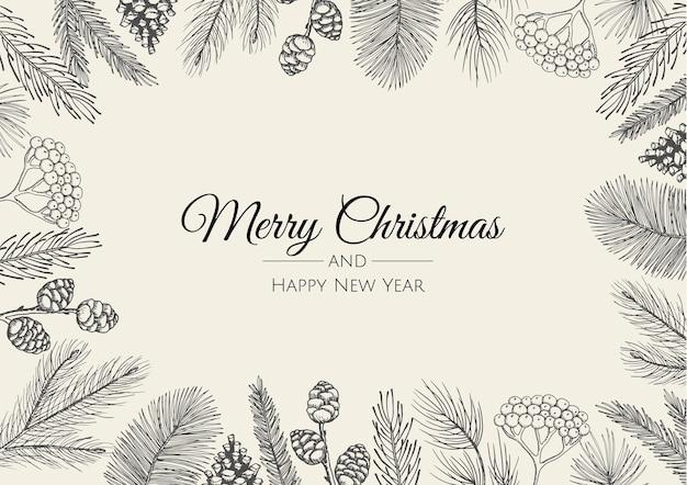 Carte de voeux joyeux noël avec arbre du nouvel an