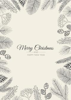 Carte de voeux joyeux noël avec arbre du nouvel an.