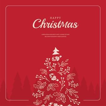 Carte de voeux joyeux noël avec arbre de noël doodle